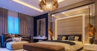 Glamorous-bedroom-panelled-grey-headboard-origami-amber-feature-chandelier