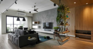 Wood-and-concrete-visually-separate-the-living-are-and-rest-of-space-900x675