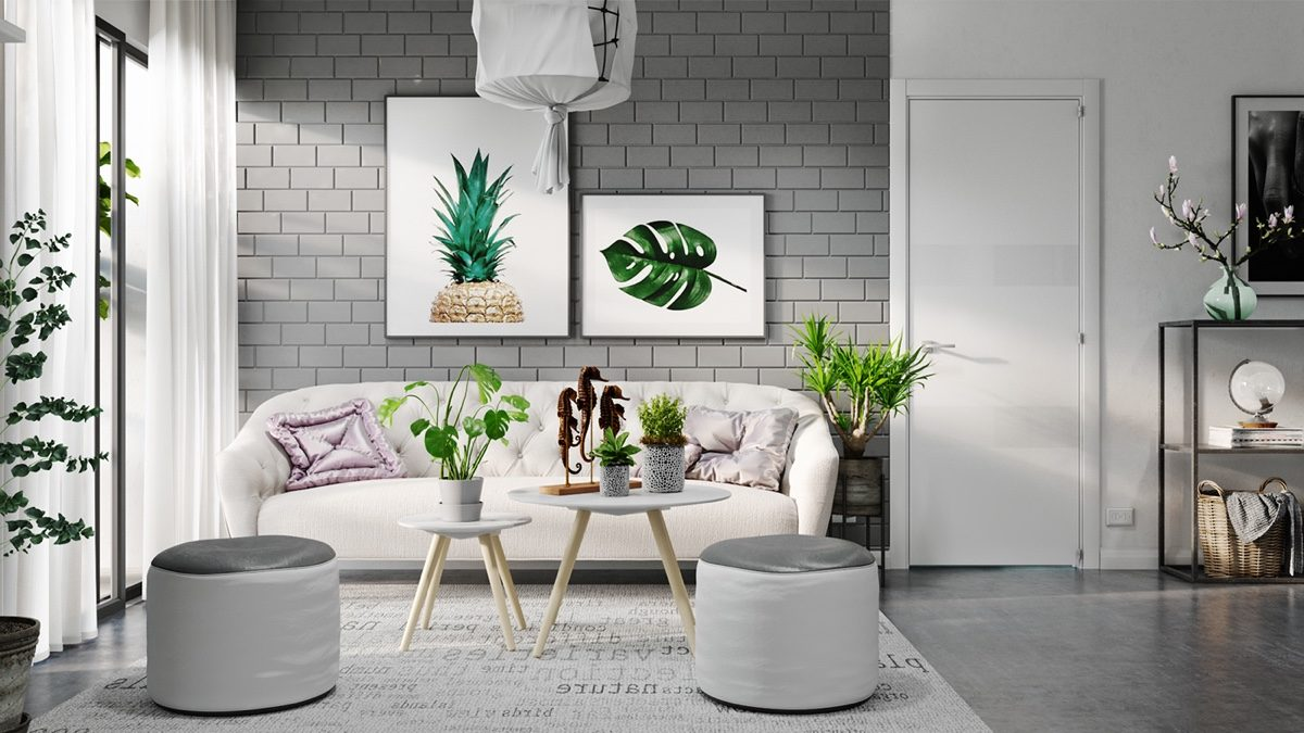 tropical-artwork-grey-exposed-brick