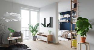Scandinavian-lounge-potted-plants-papier-mache-light
