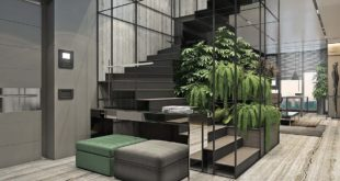 garden-by-stairs-metal-frame-LED-lighting