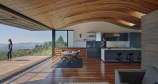 Remodeled-house-in-Oakland-features-a-wavy-ceiling-covered-in-wood