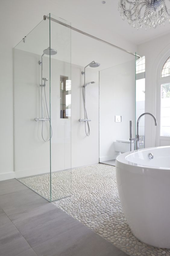 Modern-shower-design-with-Pebbles-floor