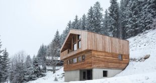 Alpine-mountain-house-perched-on-a-slope-surrounded-by-conifers