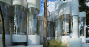 A-house-made-of-cylinders-in-a-wooded-area-in-France