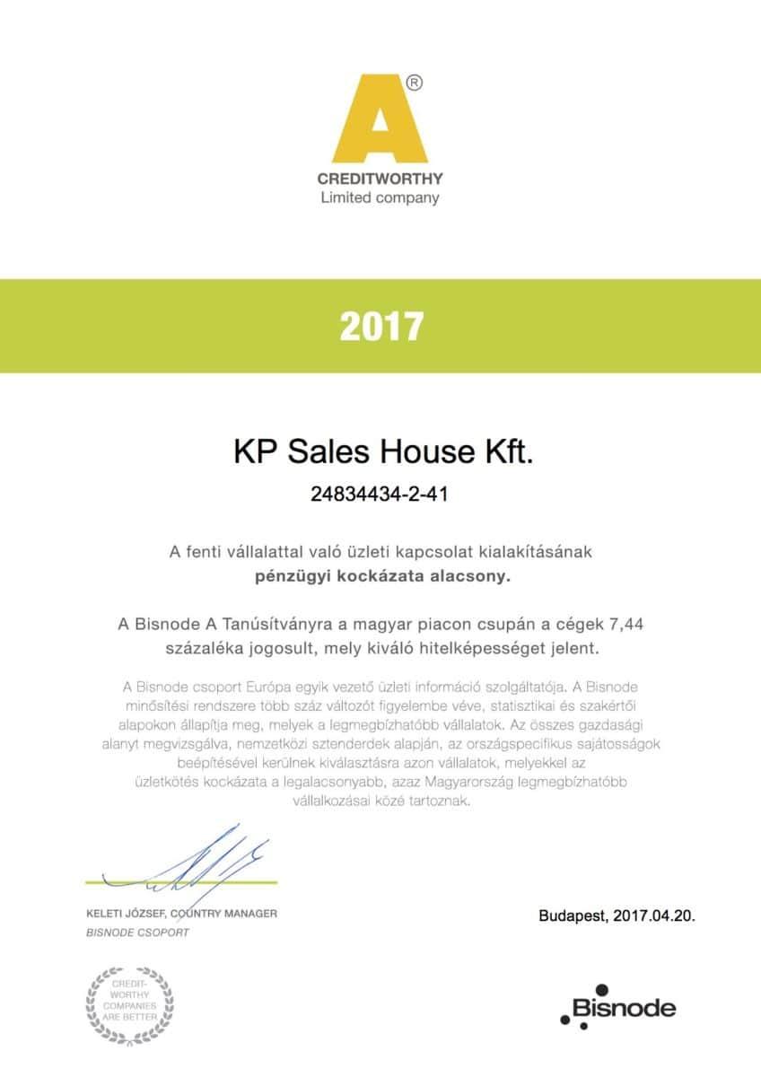 Kp Sales House Kft Bisnode a kategóriás minősítés