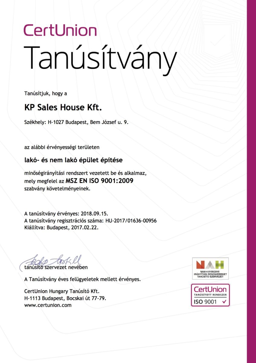 Kp Sales House Kft ISO minősítés