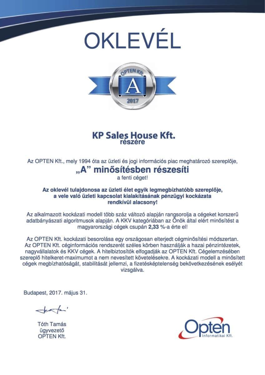 OPTEN KP Sales House Kft A minősítés
