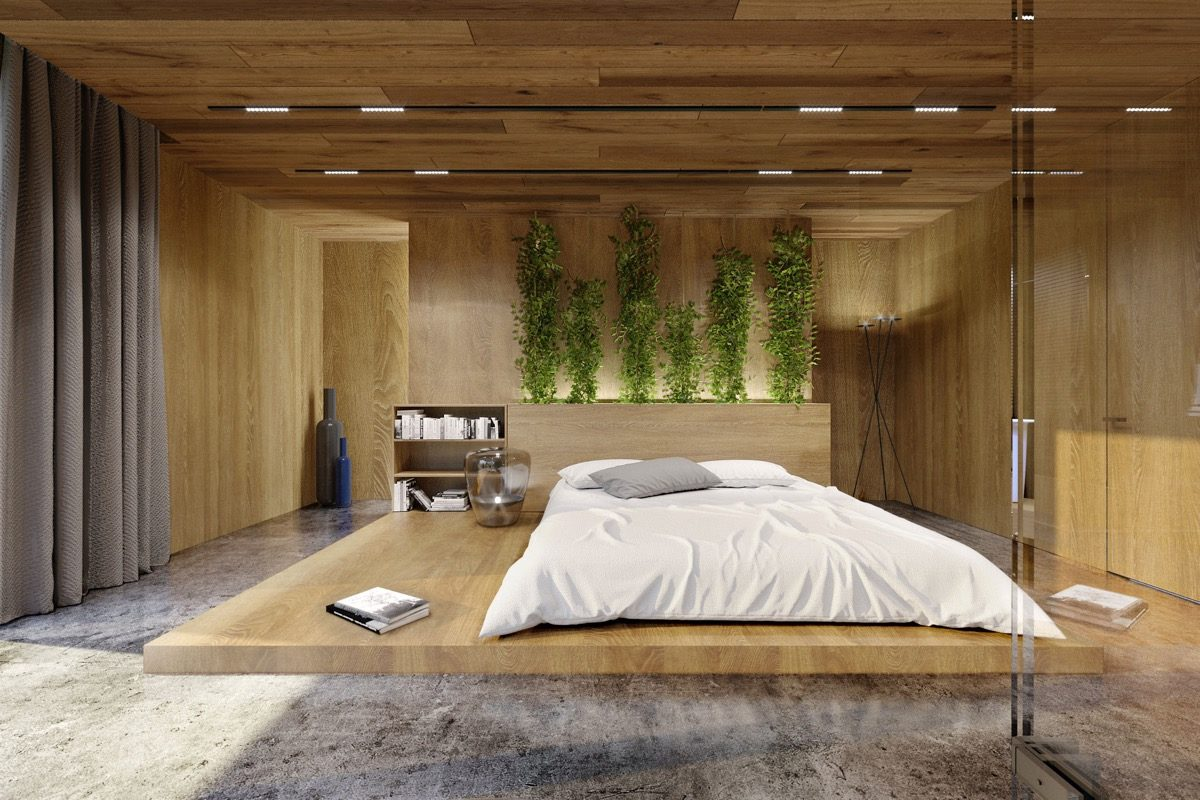 green-wall-wooden-platform-modern-wood-panel-accent-wall